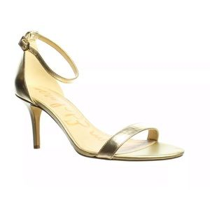 Sam Edelman Patti Lt Gold Ankle Strap Heels WIDE